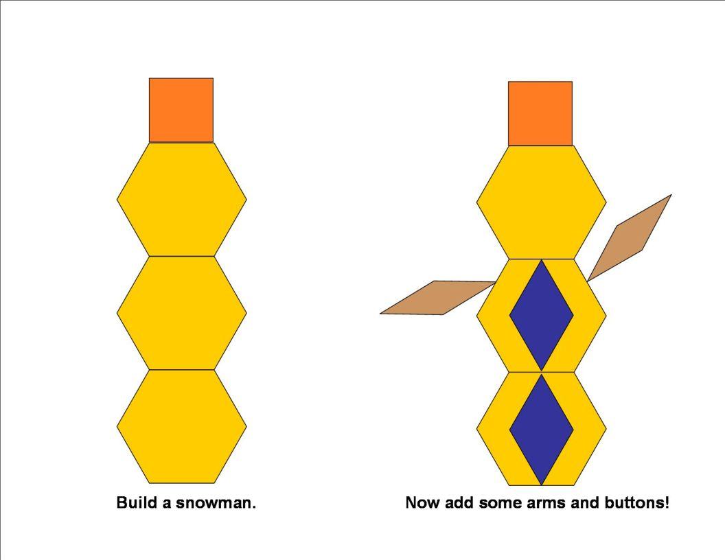 Pattern block snowman template